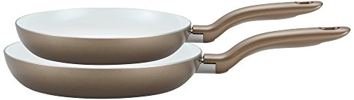 T-fal C728S2 Initiatives Nonstick Ceramic Coating PTFE PFOA and Cadmium Free Scratch Resistant Dishwasher Safe Oven Safe 8-Inch and 10-Inch Fry Pan Cookware Set, 2-Piece, Gold ()