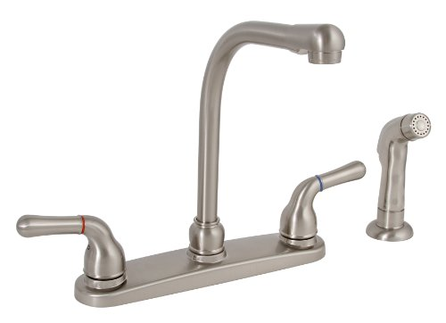Premier 120171LF Sanibel Lead-Free Two-Handle Kitchen Faucet with Matching Spray, Brushed - L-shaped Faucet