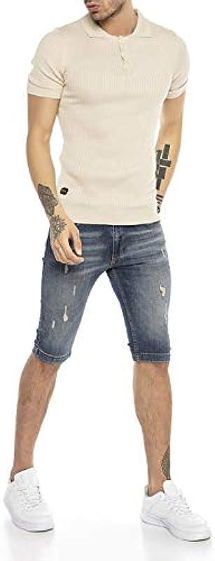 Męski T-shirt polo koszulka casual vintage retro styl krÓtki rękaw dzianina prążkowana: Odzież
