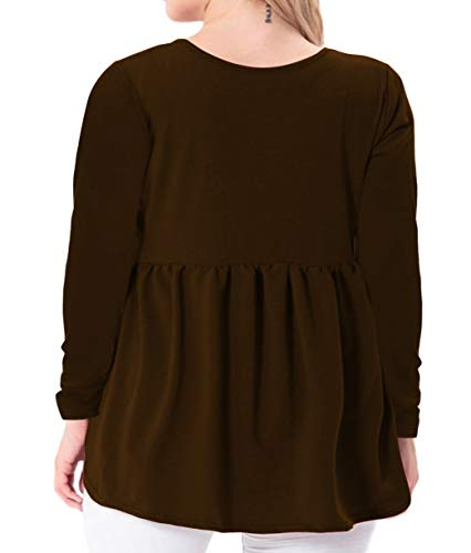 YASAKO Women's Plus Size Button Down Shirts Notch Henley V Neck Long Sleeve Pleated Flowy Blouses Casual Tunic Tops (Brown, 2X-Large)