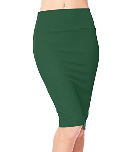 Urban CoCo Women's High Waist Stretch Bodycon Pencil Skirt (XL, Dark Green)
