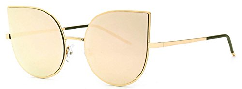 Cat Eye Women Fashion Designer Sunglasses Gold Metal Frame Mirror Lens - Wholesale Sunglasses Designer