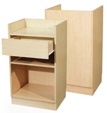 Wood Cash Register Stand, Adjustable Shelf, Drawer, 24