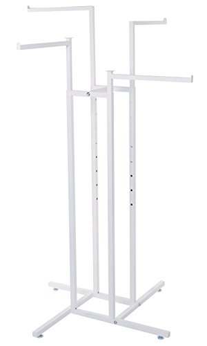 - SSWBasics White 4-Way Clothing Rack with Straight Arms