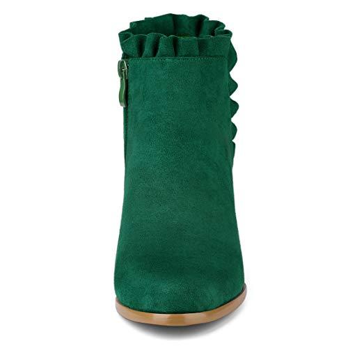 Allegra K Women's Ruffle Block Heel Ankle Boots