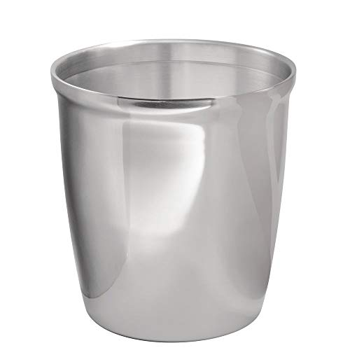 mDesign Small Round Metal Trash Can Wastebasket, Garbage Container Bin for Bathrooms, Powder Rooms, Kitchens, Home Offices - Polished Stainless ()