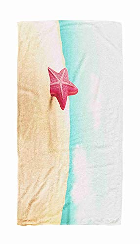 EMMTEEY Bath and Beach Towel,Starfish on The Beach 3D 30x60Inch Microfiber Oversized Large Quick Dry Swimming Pool Towel,Brown Black