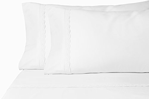Chic'y Luxe Eyelet Brushed Microfiber Sheet Set (Queen, White) (Chic Eyelet)