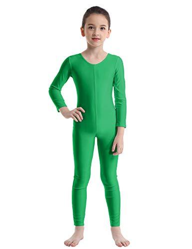 iEFiEL Girls Long Sleeve Ballet Dance Gymnastics Kids Catsuit Bodysuits Unitard Dancewear Costume Green Crew Neck 7-8]()