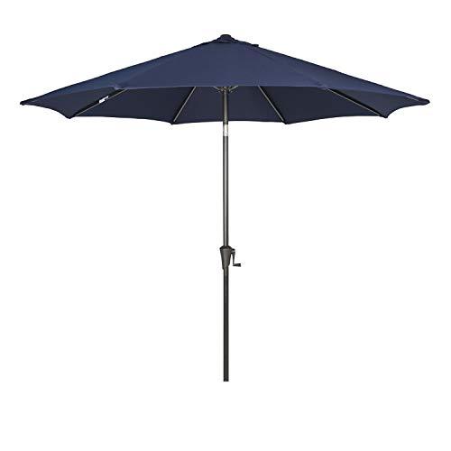 Ulax furniture 9 Ft Outdoor Umbrella Patio Market Umbrella Aluminum with Push Button Tilt&Crank, Sunbrella Fabric, Umbrella Cover Included, Canvas Navy