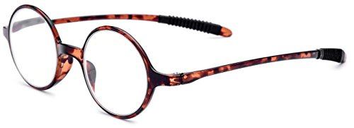 FONEX TR90 Reading Glasses Stylish Round Frame Old Women Eyeglasses Hyperopia Ultralight Gift for Mother +1.5 +2.0 +2.5 +3.0 LH236 (Leopard, - Eyeglass Memory Frames