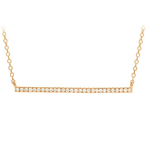 14K Yellow Gold 1/4 Cttw Diamond-Accented Horizontal Bar Necklace, 18