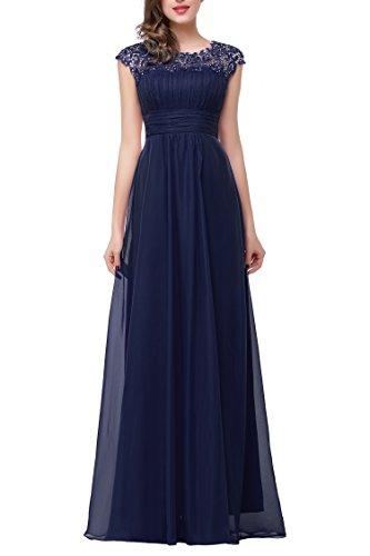 Babyonline Women's Cap Sleeve Lace Neckline Ruched Bust Chiffon Evening Dress