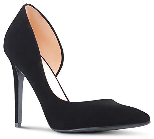 MARCOREPUBLIC Zaragoza Womens Pointy Toe Low Platform High Heels Stiletto Dress Pumps - (Black Nubuck) - 8 (High Heels With Bows On The Side)