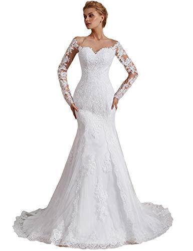 OYISHA Off Shoulder Lace Mermaid Wedding Dresses 1/2 Sleeve Bridal Gown WD162 Ivory 18Plus