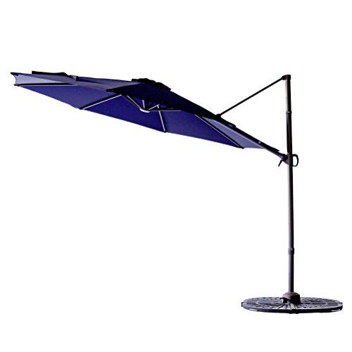 C-Hopetree 10' Cantilever Offset Parasol, Large Hanging Patio Umbrella, Cross Base, Infinite Tilting, 360° Rotation Axis, Large Round, Navy Blue (Tilting Parasol)