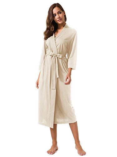 SIORO Women's Kimono Robes Cotton Lightweight Robe Long Knit Bathrobe Soft Maternity Sleepwear V-Neck Ladies Nightwear,Ivory M -