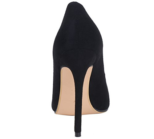 15 Wedding Size High Dress Party US Office Suede Heel 4 Pumps Womens Stiletto Black Shoes 12CM 15 Colors Calaier xqwYp4n