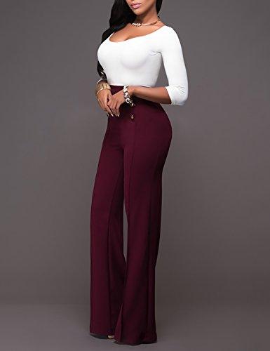 Ninimour Pantalones de Pierna Ancha Cintura Alta para Mujer Rojo