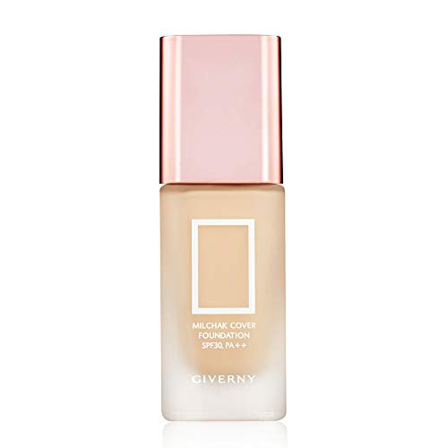 GIVERNY Milchak Cover Foundation SPF30 PA++ 1.01 Fluid Ounce (02 Yellow Skin) Thin Wear Light Texture Dewy Glow Sunblock Function