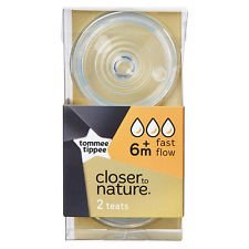 Tommee Tippee Closer To Nature Teats From 6 Months 2 Teats (Fast Flow) no BPA