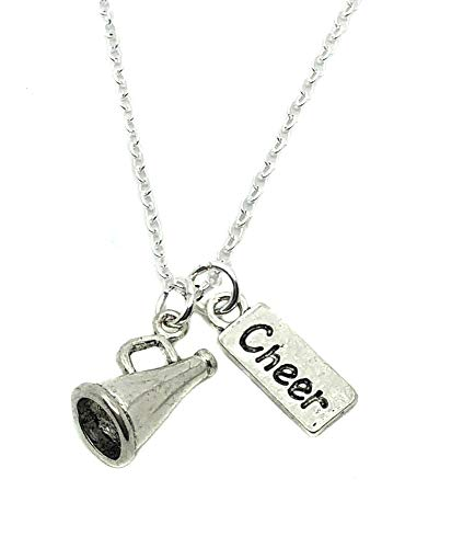 Heart Projects Cheerleader Cheer Megaphone Charm, Silver Finished Necklace, 18