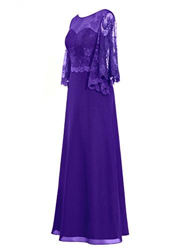 Dresstells®Vestido De Ceremonia Largo Con Mangas Largas De Gasa Encaje Gala De Fiesta Azul