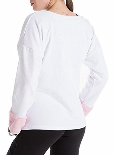 White Stitching Womens Neck Sleeve Pullover Casual UK Faux today Fur Sweatshirt Round pH1PWw