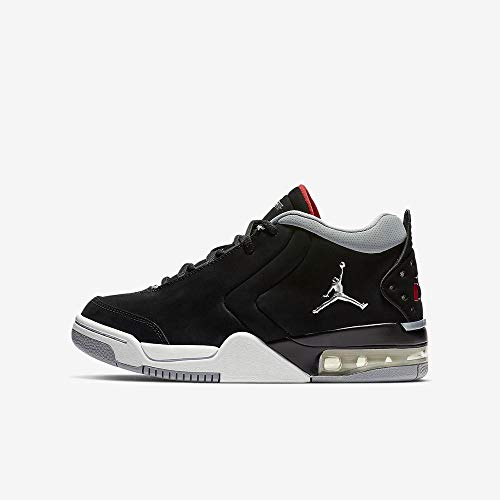 Jordan Youth Big Fund Leather Synthetic Black Red Silver Trainers 7 US (Jordan Black Shoes For Girls)
