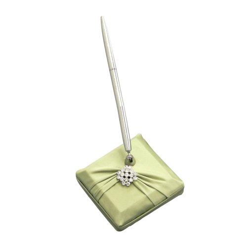 Ivy Lane Design Garbo Collection Pen and Penholder Set for Weddings, Lime Green