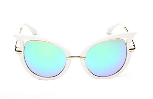 GAMT New Fashion Round Cateye Mirrored Sunglasses For Women Classic Style White Frame Blue-Green - Rimless Eyeglasses Semi Shell Tortoise