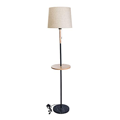 (Freeby Socket Floor Lamp with Bulb Modern Bedside Standing Lamp for Bedroom Living Room Office White Fabric Shade and Walnut Wood Finish (White))