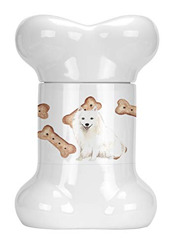 Caroline's Treasures CK2319BSTJ Japanese Spitz Bone Shaped Treat Jar, 9 in in, Multicolor