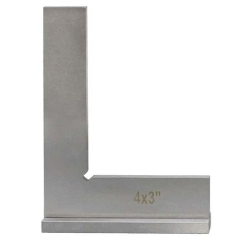 90 Degree Wide Base 4'' x 3'' Machinists Work Shop Squares Steel Bevel Edge