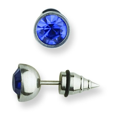 Jewelry by Sweet Pea 316L SRG GR SSTL Blue CZ Ringed Cone End Cheater Plug