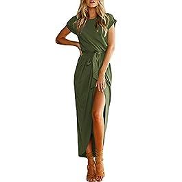 YOINS Women Maxi Dresses Long Sleeve Round Neck Dress Sexy Split Long Dresses Casual Evening