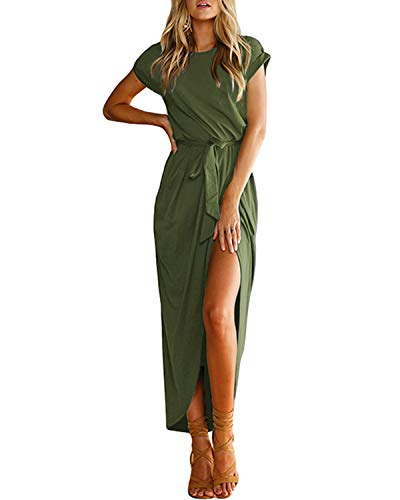 YOINS Women Maxi Dresses Long Sleeve Round Neck Dress Sexy Split Long Dresses Casual Evening
