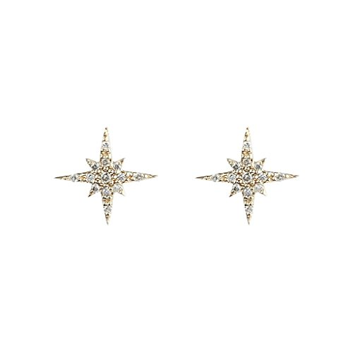 FRONAY 14k Gold Plated Sterling Silver Starburst Stud Earrings, Galaxy, Twinkle, CZ from Fronay Collection