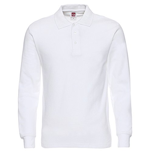 NeedBo Men's Long Sleeve Casual Solid Golf Polo Shirt,white,s