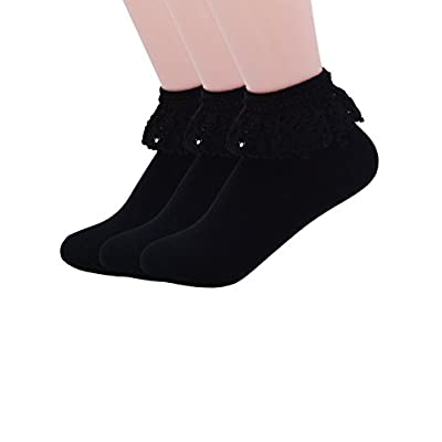 Discount YASIDI Women Lace Ruffle Frilly Ankle Socks 3 Packs - Comfortable No-Show Cotton Ankle Socks Solid Color for sale
