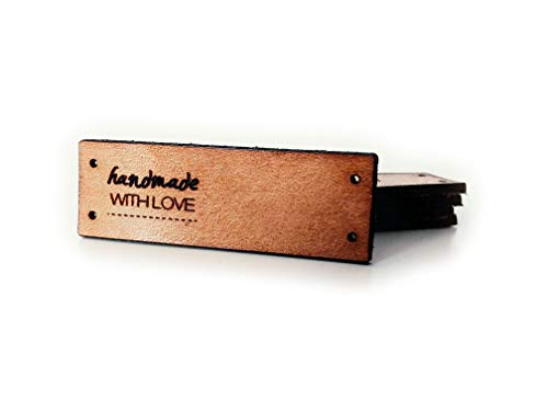 Handmade E | Folding Leather Labels | 15 pcs | Exclusive engraved genuine italian leather tags