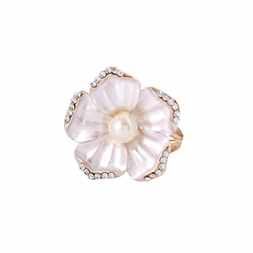 Botrong Tricyclic Camellias Pearl Scarf Buckle Brooch Holder Scarf Jewelry (Number Buckle)
