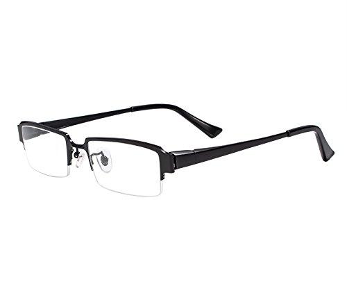 (Agstum Pure Titanium Half Rim Optical Business Glasses Frame Clear Lens Rx (Black, 52))