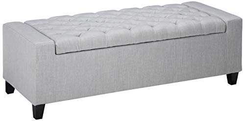 Christopher Knight Home 299144 Living Seattle Light Grey Fabric Storage Ottoman, 19.75