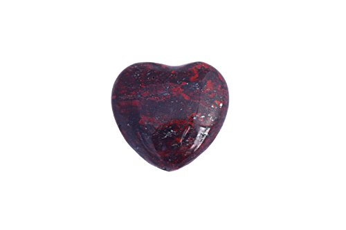 (Zentron Crystal Collection 30MM Brecciated Jasper Worry Stone Polished Puff Heart with Velvet)