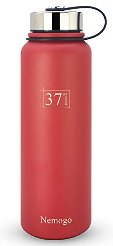 Nemogo 37oz Stainless Steel Water Bottle - Double Walled, Vacuum Insulated, Wide Mouth, Sport Design Idea for Hiking, Camping, and Everyday Use Red