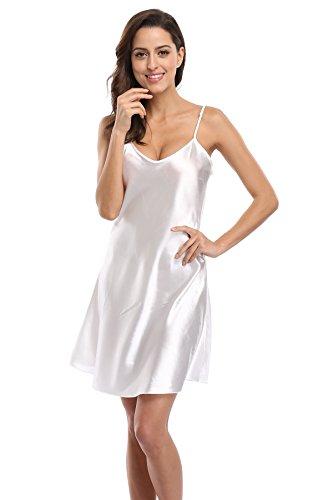 KimonoDeals Women's Satin Nightshirts Camisole Nightgown Chemises Slip Sleepwear, Ivory XL