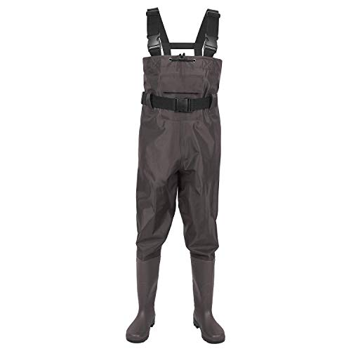 DOMICARE Chest Waders Breathable Hunting Waders Waterproof Fishing Waders 2-Ply Nylon/PVC Material Waders with Boot for Men and Women Brown Size 13