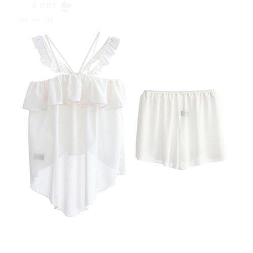 しっとりおめでとうミルGAODUZI 夏の甘いかわいいセクシーなストラップの女の子ツーピースパジャマファッションカジュアルホームサービス睡眠スカートの下着(パジャマ+ショートパンツ)