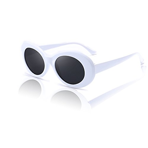 White Clout Goggles. Thick Oval Frame. Mod Fashion Kurt Cobain - Sunglasses Prime